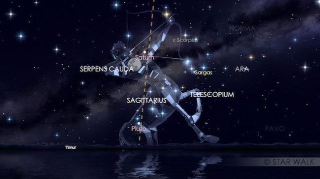 Pasangan Bulan dan Saturnus di timur tanggal 7 Juli pukul 18:30 WIB. Kredit: Star Walk
