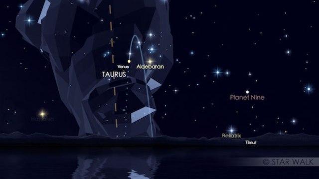 Pasangan Venus dan Aldebaran di timur tanggal 14 Juli pukul 04:00 WIB. Kredit: Star Walk