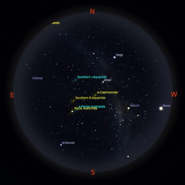 Peta bintang 1 Agustus 2017 pukul 23:59 WIB. Kredit: Stellarium