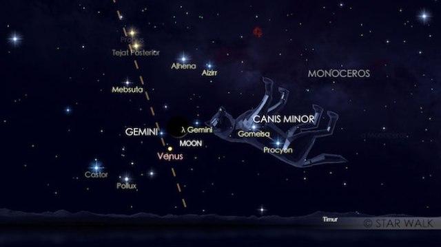 Konjungsi Bulan dan Venus, si bintang Kejora, tanggal 19 Agustus 2017 saat diamati pukul 04:30 WIB. Kredit: Star Walk