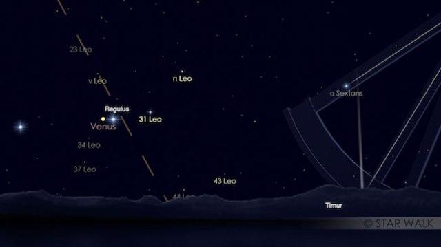 Bintang Kejora dan bintang Regulus berpasangan di langit sebelum fajar pada tanggal 20 September 2017 pukul 04:30 WIB. Kredit: Star Walk