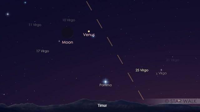 Pasangan Bulan & Venus 18 Oktober 2017 pukul 05:00 WIB. Kredit: Star Walk
