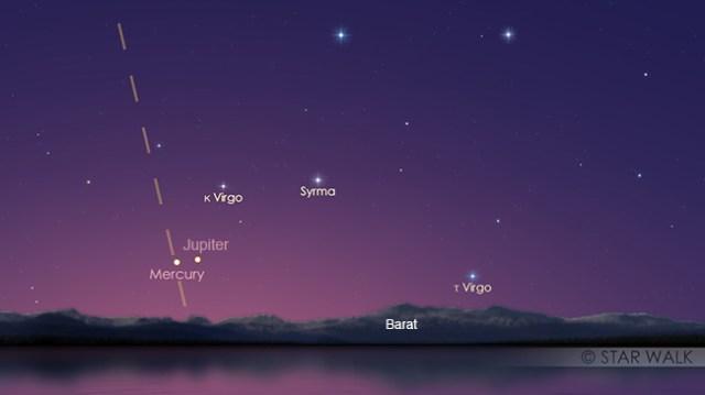 Pasangan Jupiter dan Merkurius sesaat setelah matahari terbenam tanggal 18 Oktober 2017 pukul 17:50 WIB. Kredit: Star Walk