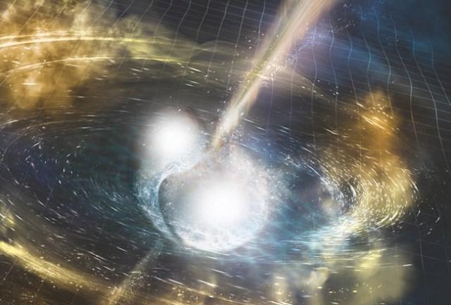 Ilustrasi tabrakan bintang neutron yang berhasil diamati dalam berbagai panjang gelombang dan dideteksi gelombang gravitasinya. Kredit: NSF, LIGO, Sonoma State University & A. Simonnet