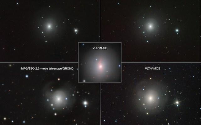 Citra galaksi NGC 4993 yang dipotret dari berbagai teleskop ESO. Tampak sumber cahaya redup di tengan dan diindikasi sebagai kilonova. Kredit: VLT/VIMOS. VLT/MUSE, MPG/ESO 2.2-metre telescope/GROND, VISTA/VIRCAM, VST/OmegaCAM