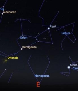 Radian atau arah datang hujan meteor Orionid. Kredit: Stellarium