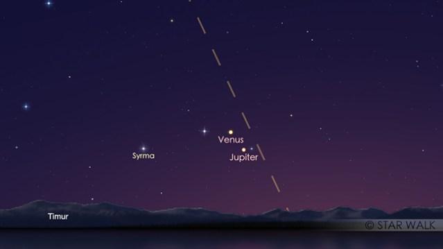 Pasangan Venus dan Jupiter tanggal 12 November 2017 pukul 05:00 WIB. Kredit: Star Walk