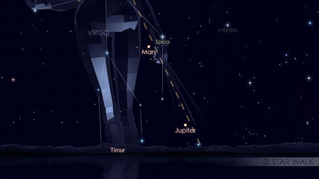 Pasangan Mars dan Spica 1 Desember 2017 pukul 04:00 WIB sebelum fajar. Kredit: Star Walk