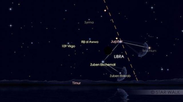 Pasangan Bulan dan Jupiter tanggal 15 Desember 2017 pukul 04:00 WIB sebelum fajar. Kredit: Star Walk