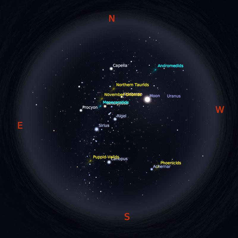 Peta Bintang 15 Desember 2017 pukul 23:59 WIB. Kredit: Stellarium