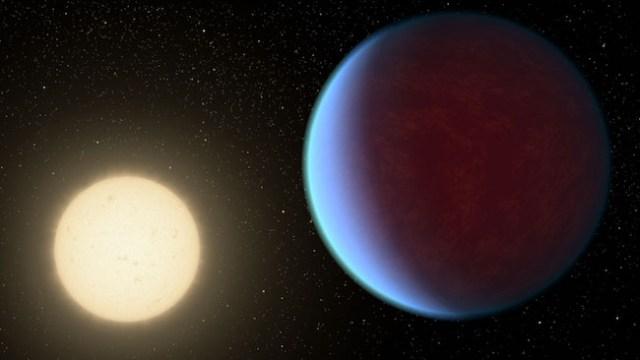 Ilustrasi bintang 55 Cancri A dan planet 55 Cancri e. Kredit: NASA/JPL-Caltech
