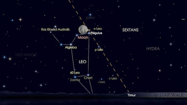 Pasangan Bulan dan Regulus tanggal 1 Februari 2018 pukul 21:00 WIB. Kredit: Star Walk
