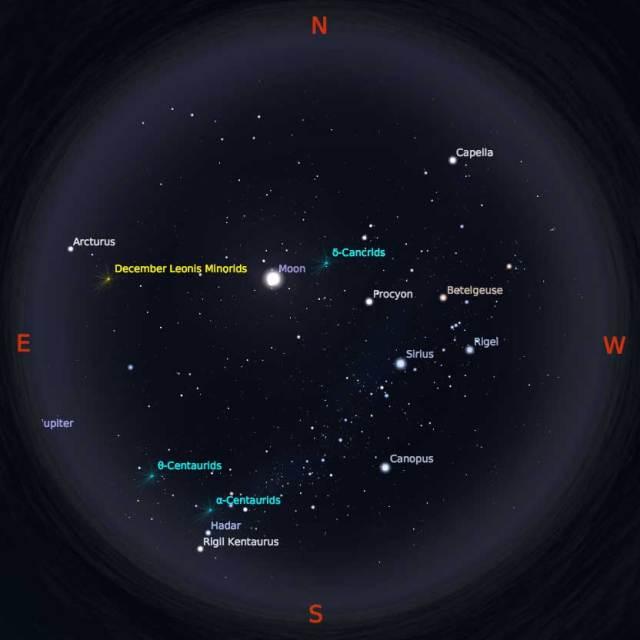 Peta Bintang 1 Februari 2018 pukul 23:59 WIB. Kredit Stellarium