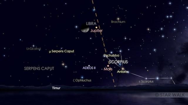 Pasangan Bulan dan Jupiter tanggal 8 Februari 2018 pukul 01:30 WIB. Kredit: Star Walk