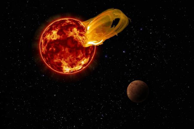 Suar bintang Proxima Centauri yang mengancam planet proxima b. Kredit: Roberto Molar Candanosa / Carnegie Institution for Science, NASA/SDO, NASA/JPL.