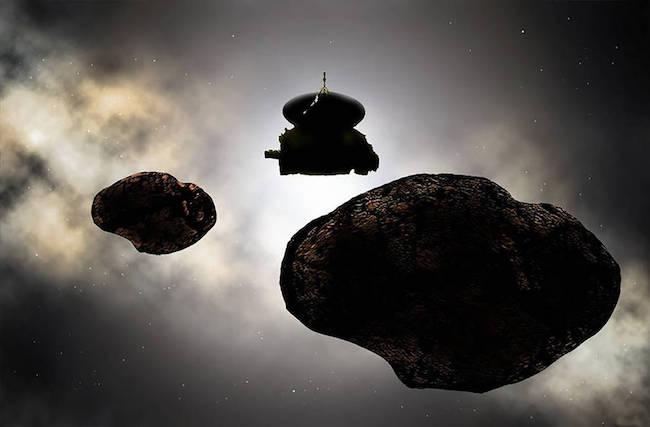 Ilustrasi pertemuan New Horizons dan 2014 MU<sub>69</sub>. Kredit: NASA/JHUAPL/SwRI/Carlos Hernandez