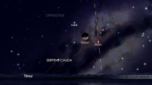 Pasangan Bulan dan Mars tanggal 10 Maret 2018 pukul 01:00 WIB. Kredit: Star Walk
