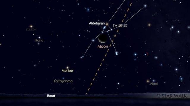 Pasangan Bulan dan Aldebaran tanggal 22 Maret 2018 pukul 20:00 WIB. Kredit: Star Walk