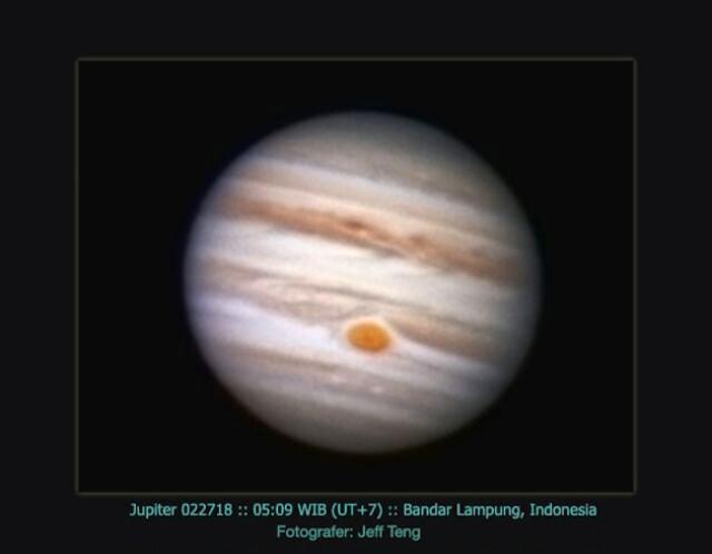 Jupiter dalam filter RGB. Dipotret dari Lampung oleh Jeff Teng.