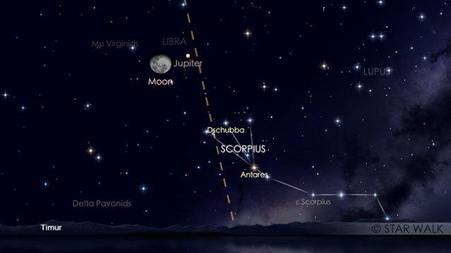 Pasangan Bulan dan Jupiter tanggal 3 April pukul 22:00 WIB. Kredit: Star Walk