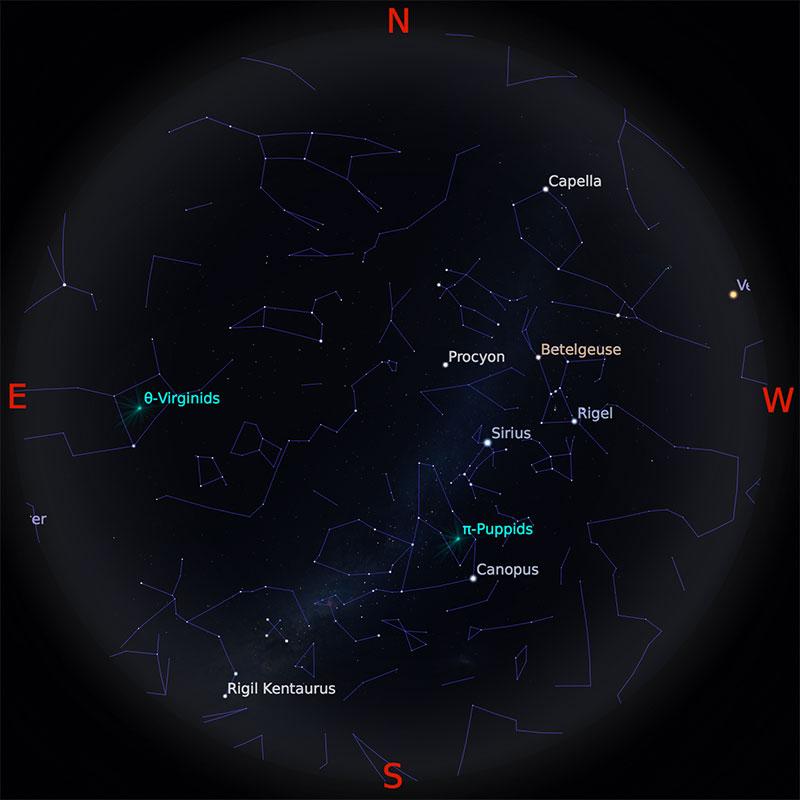 Peta Bintang 1 April 2018 pukul 19:00 WIB. Kredit Stellarium