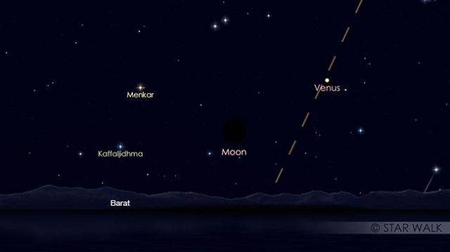 Pasangan Bulan dan Venus setelah Matahari terbenam pada tanggal 17 APril pukul 18:30 WIB. Kredit: Star Walk