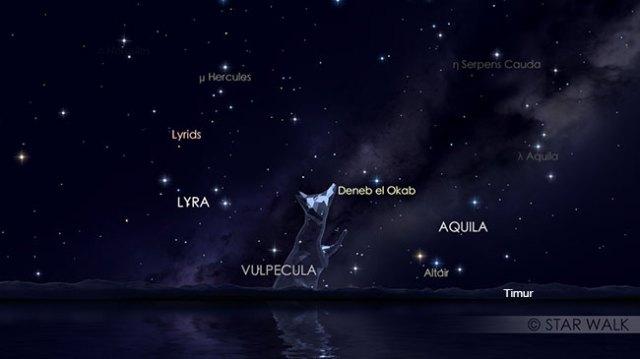 Hujan meteor Lyrid tanggal 23 April pukul 23:55 WIB. Hujan meteor ini bisa diamati sampai jelang fajar. Kredit: Star Walk
