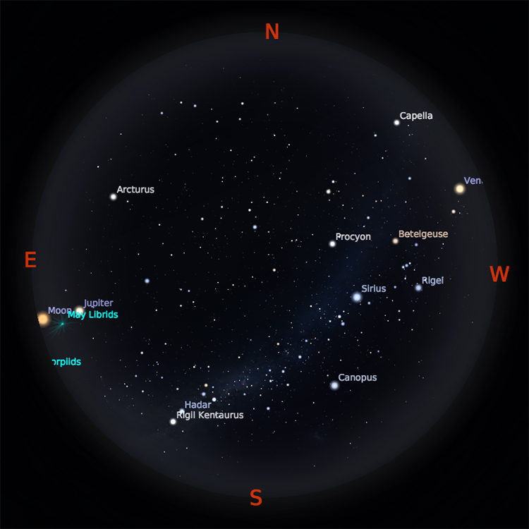 Peta Bintang 1 Mei 2018 pukul 19:00 WIB. Kredit Stellarium