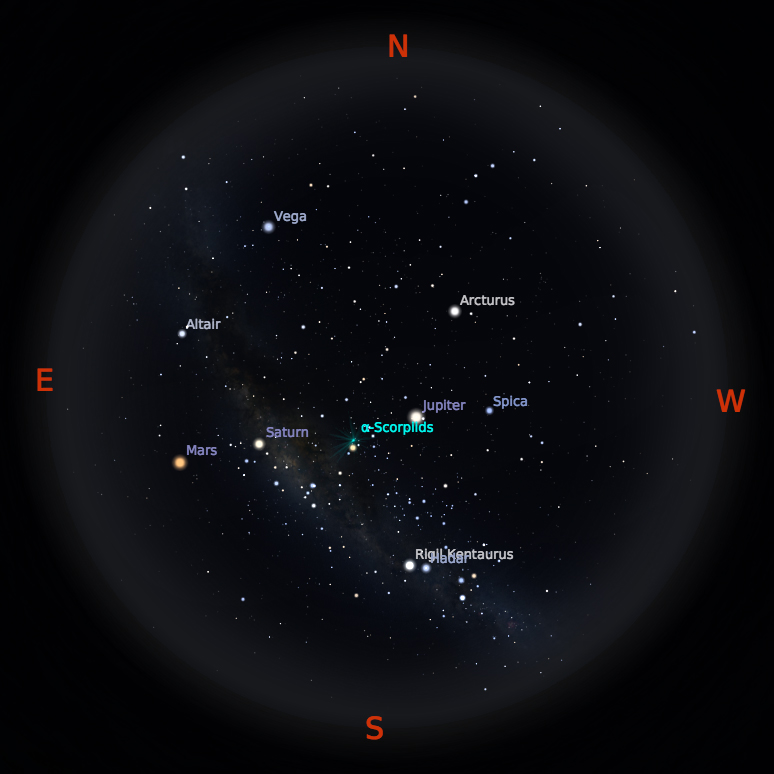 Peta Bintang 15 Mei 2018 pukul 23:59 WIB. Kredit Stellarium