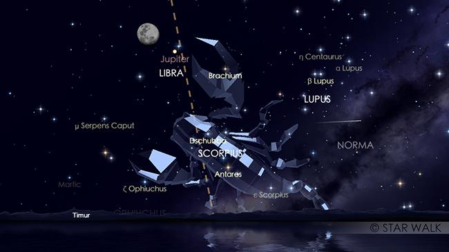 Konjungsi Bulan dan Jupiter tanggal 27 Mei 2018 pukul 18:30 WIB. Pasangan Bulan dan Jupiter sudah bisa diamati sejak Matahari terbenam pada tanggal 27 Mei sampai tanggal 28 Mei dini hari. Kredit: Star Walk