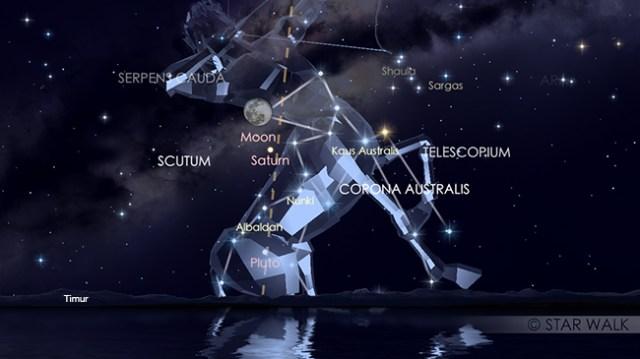 Pasangan Bulan dan Saturnus pada tanggal 31 Mei 2018 pukul 21:00 WIB. Keduanya bisa diamati sampai tanggal 1 Juni. Kredit: Star Walk