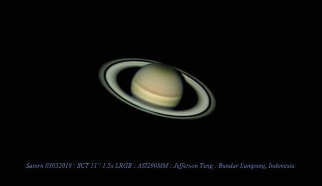 Saturnus dipotret dari Lampung. Fotografer: Jefferson teng