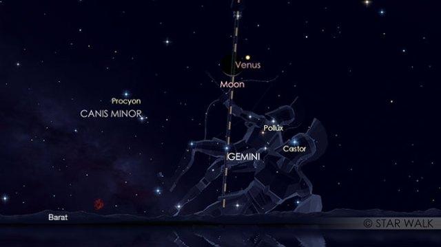 Pasangan Bulan dan Venus setelah Matahari terbenam pada tanggal 16 Juni pukul 18:30 WIB. Kredit: Star Walk