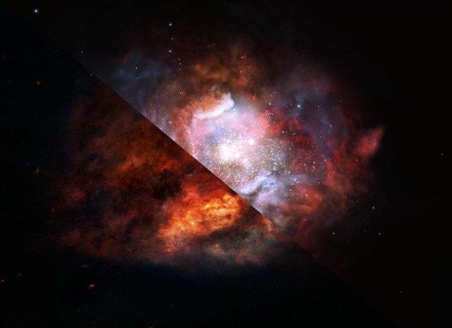 Ilustrasi Galaksi Starbyrst yang memiliki laju kelahiran bintang yang sangat tinggi. Kredit: ESO/M. Kornmesser
