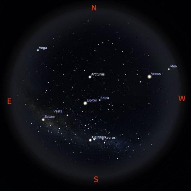 Peta Bintang 1 Juli 2018 pukul 19:00 WIB. Kredit Stellarium