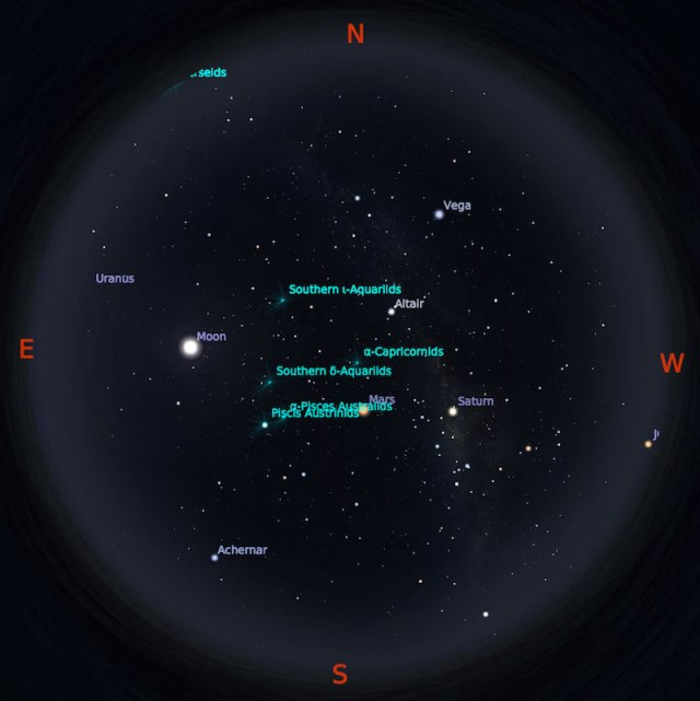 Peta Bintang 1 Agustus 2018 pukul 23:59 WIB. Kredit Stellarium