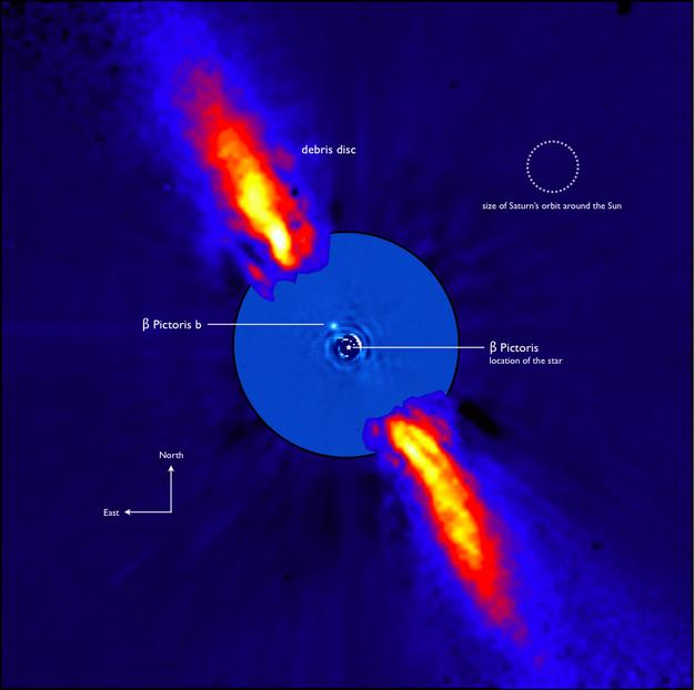 Exoplanet Beta Pictoris b pada sistem Beta Pictoris yang masih dikelilingi piringan gas dan debu. Kredit: ESO/A-M. Lagrange et al.