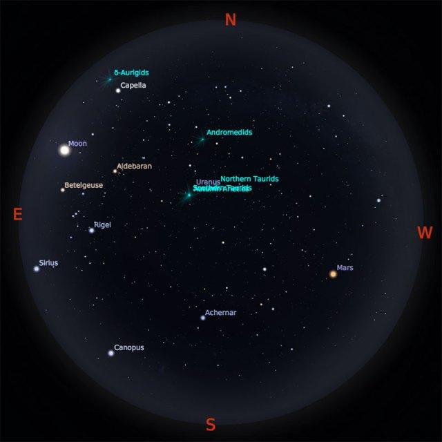 Peta Bintang 1 Oktober 2018 pukul 23:59 WIB. Kredit: Stellarium