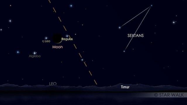 Pasangan Bulan dan bintang Regulus, 6 Oktober pukul 04:00 WIB, sebelum Matahari terbit. Kredit: Star Walk