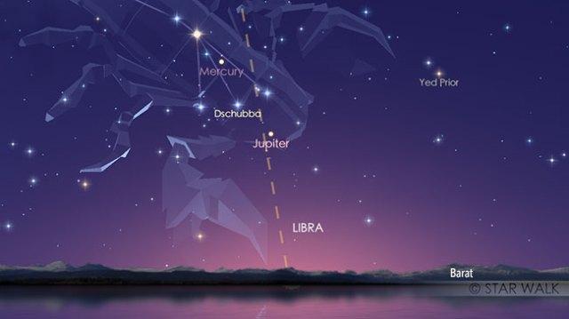 Merkurius saat mencapai elongasi timur maksimum. Merkurius berada pada separasi terbesar dari Matahari pada tanggal 6 November 17:45 WIB. Kredit: Star Walk