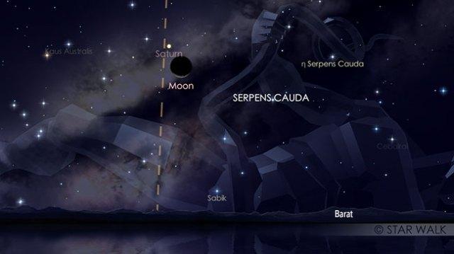 Papasan Bulan Sabit dan Saturnus 11 November 2018 pukul 19:30 WIB setelah Matahari terbenam. Kredit: Star Walk
