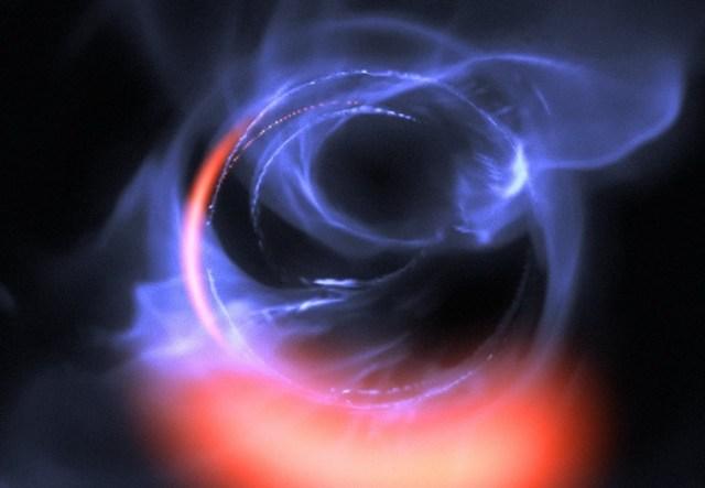 Simulasi gerak materi di sekeliling lubang hitam supermasif. Kredit: ESO/Gravity Consortium/L. Calçada