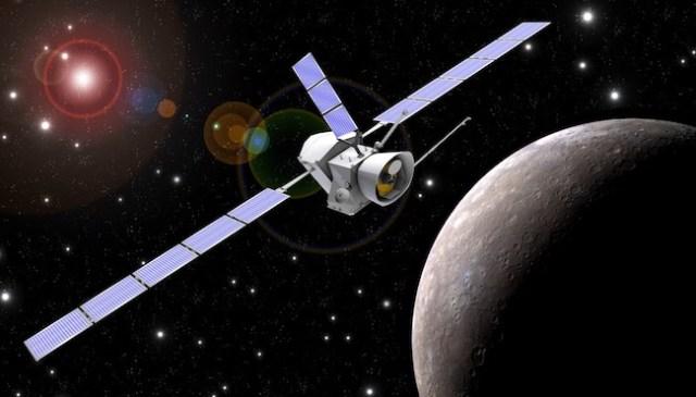 Ilustrasi Wahana BepiColombo mendekati planet Merkurius. Kredit: ESA