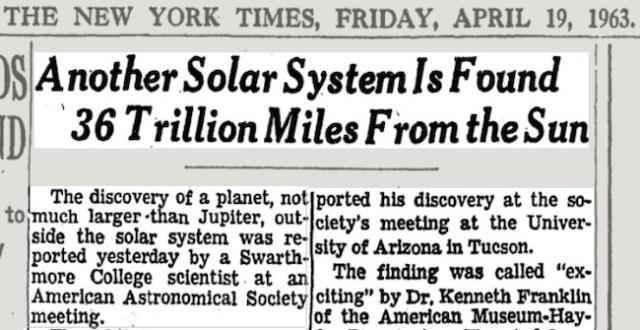 Kliping berita penemuan planet di bintang Barnard oleh Peter van de Kamp di New York Times. Kredit: New York Times