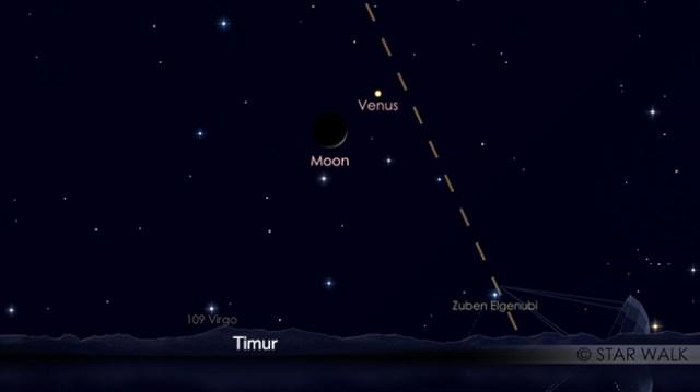 Pasangan Bulan dan Venus 04 Desember 2018 pukul 04:00 WIB. Kredit: Star Walk