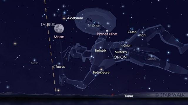 Pasangan Bulan dan Aldebaran 21 Desember 2018 pukul 18:30 WIB. Kredit: Star Walk