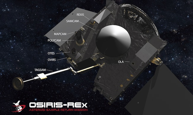 Instrumen yang dibawa OSIRIS-REx. Kredit: NASA/Goddard/University of Arizona