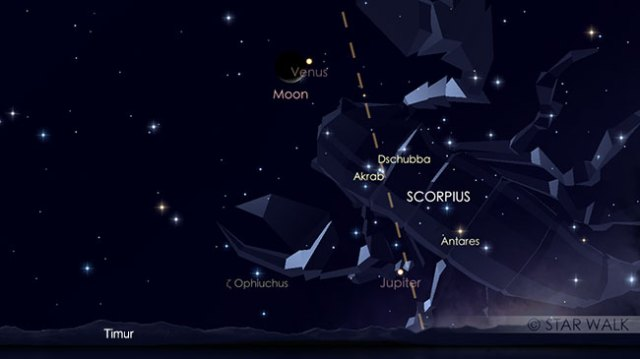 Pasangan Bulan dan Venus 02 Januari 2019 pukul 04:00 WIB. Kredit: Star Walk