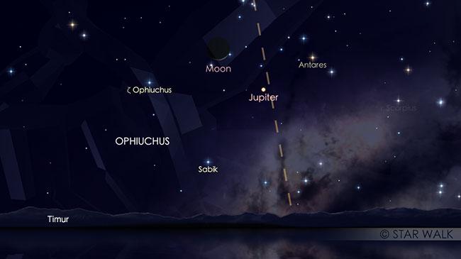 Pasangan Bulan dan Jupiter 3 Januari 2019 pukul 04:30 WIB. Kredit: Star Walk