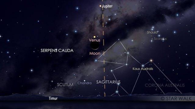 Pasangan Bulan dan Venus 1 Februari 2019 pukul 04:00 WIB. Kredit: Star Walk